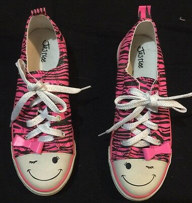 Girl's Justice Black, White, & Pink Tennis Shoes Size 8 Adult Adorable Smiley