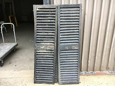 """PaiR c1850 fixed louver black window house shutter central MA 60"""" x 16.5 x 1 3/8"""