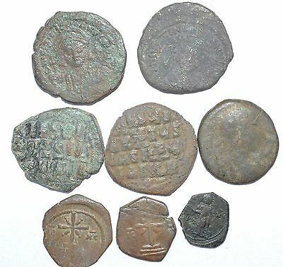 Lot Of 8  Byzantine Copper Coins For Cleaning - Lovely Rare Artifact - H279