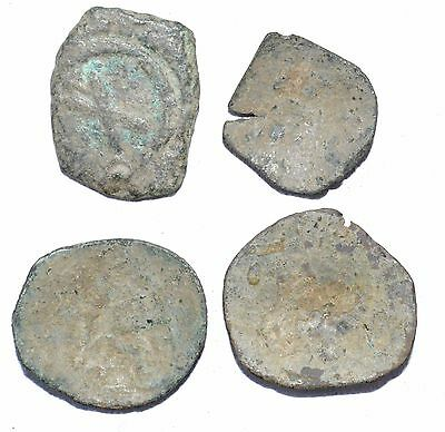 Lot Of 4  Byzantine Copper Coins For Cleaning - Lovely Rare Artifact - H280
