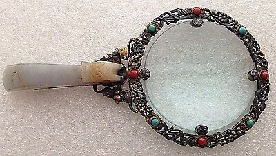 A Chinese export magnifying glass with silver-gilt mounts and jade buckle handle