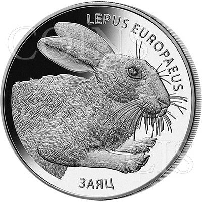 Belarus 2014 20 rubles LEPUS EUROPAEUS HARE Proof Silver Coin with zirconia gem