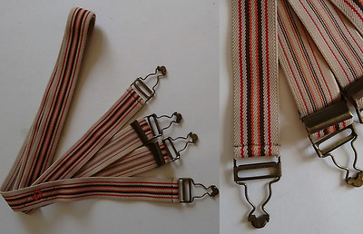 Lovely Vintage Beige Brown Red and Orange Stripe Elasticated Button Hook Braces