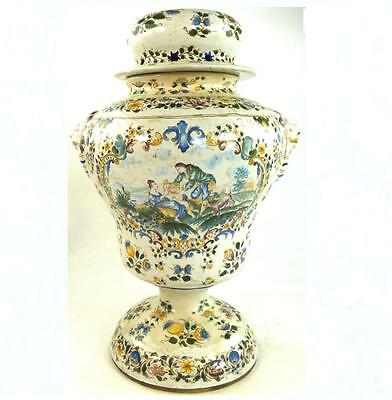 Antique French Faience Earthenware Potpourri Vase & Cover Hand Painted