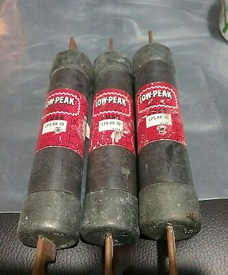 Lot of 3 LPS-RK-70 Bussmann Low-Peak Dual-Element Time-Delay Class RK1 Fuse 70A