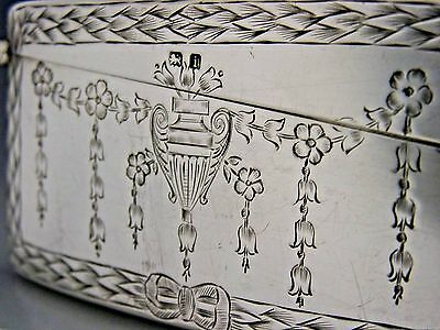 English Edwardian Sterling Silver Classical Card Case 1908 Antique