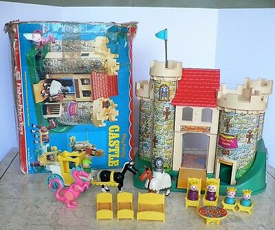 Vintage Play Family CASTLE Fisher Price 100% Complete with Box EUC