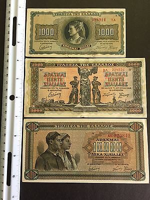 Banknotes: Greek/Greece (set of 5) 1942-1943 1000-25000 DRACHMA About UNC/UNC
