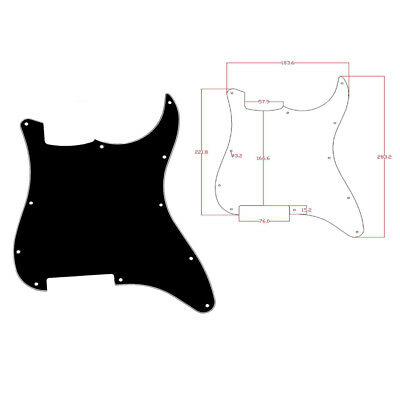 Electric Guitar Blank Pickguard for Fender Strat Replacement 3 Ply Black White