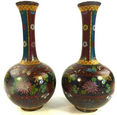 Pair Antique Japanese Meiji Cloisonne Bottle Vases