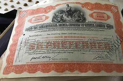Canada Share Certificate 1930 Nickel Company Of Canada Original (PB)