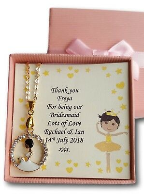 Thank You Flower Girl Bridesmaid Present Gift Childrens Necklace  Wedding