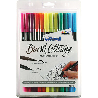 Uchida Le Plume II Double-Ended Brush Lettering Marker Set 12/Pkg-Bright