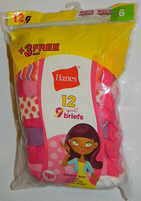 New Hanes Girls Cotton Tagless Briefs Size 6 Cotton Pink Purple 9 12 Pk Panties