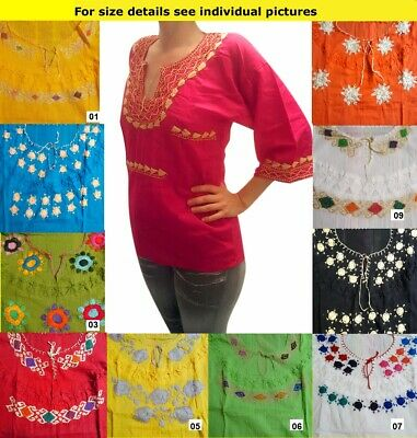 Authentic Hand made embroidered ladies Mexican 3/4 long sleeve blouse Chiapas