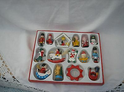 15 Vintage Wooden Christmas Tree Decorations.