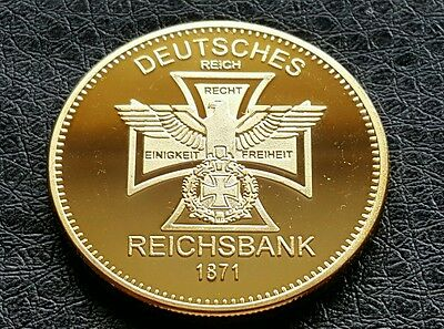 Third Reich German Gold Plated Bullion Reichbank Iron Cross Eagle Coin
