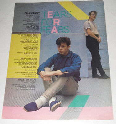 Vintage TEARS FOR FEARS.' PALE SHELTER'. Songwords Poster!