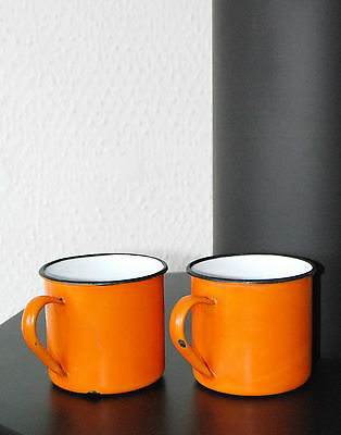 Emaille Becher original 70er Jahre Design Retro Geschirr orange Stifthalter
