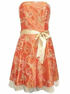 Orange Gold Strapless Organza Dress with Ribbon Sash