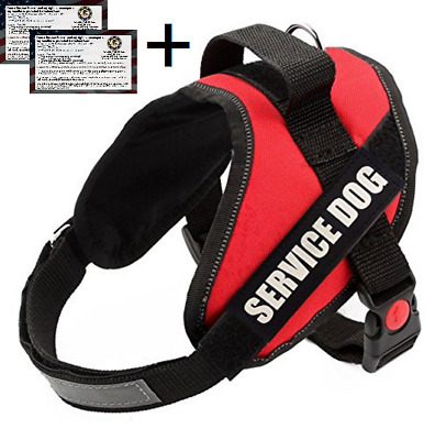 Service Dog Harness Vest + FREE Service Dog ADA Info Cards + FREE PATCHES +LEASH