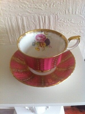 Paragon Tea Cup And Saucer Maroon & Gold Gilded  Floral Center