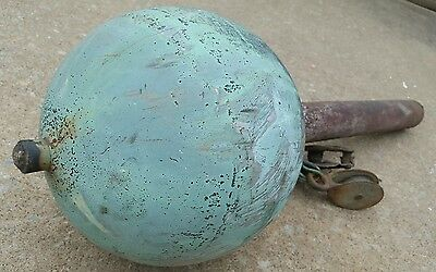 Antique Copper Ball Sphere Flag Pole Top Lightning Rod WeatherVane Heavy Patina