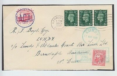 Lundy 1939 Lights Leads Lacal Atlantic Coasts Airline Manuscript First Day Cover