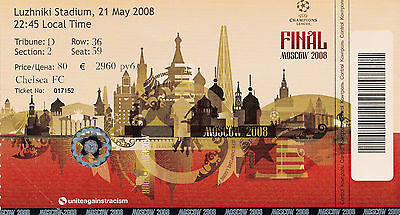 Champions League Final 2008 Chelsea v Manchester United Unused Match Ticket Mint