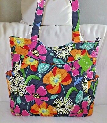 Vera Bradley Pleated Tote Bag - Jazzy Blooms - Beautiful  -  Brand New With Tag