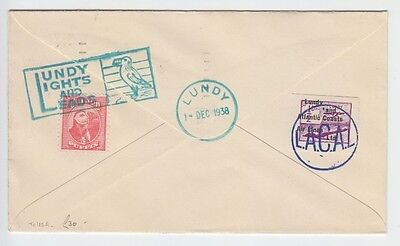 Lundy 1938 Violet Overprinted Lacal Atlantic Coasts Airlines Lights Leads Cover