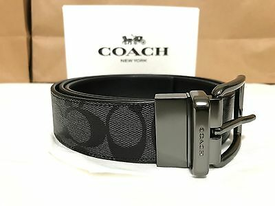 NWT Men's Coach F64839 Cut to Size Reversible Signature Belt Charcoal Black