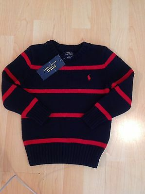 Polo Ralph Lauren Boy's Navy & Red Stripe Jumper For 3 Years BNWT