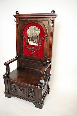 Antique Gothic French Medieval style Hall Tree Seat Mirror  Large Throne Chair
