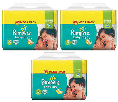 NEUF Lot 300 Couches Pampers baby-dry Taille 3 Midi de 4 à 9kg Mega Pack