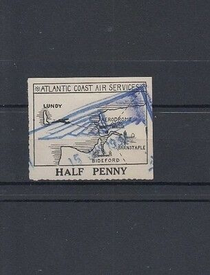 Lundy 1936 Acas Large Map Issue 1/2D Value Used June 1937 Winged Cancel