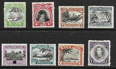 Niue (Cook Islands) KGVI 1944 - 1946 plus 1940 3d opt - values to 1/-  - MH