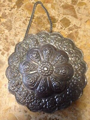 900 Silver Hanging Mirror Ornate Authentic Turkish Ottoman Wedding Antique Round