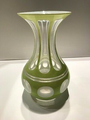 19th Century American Triple Overlay Green Glass Vase