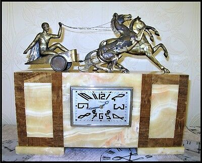 Antique French Art Deco marble clock & chariot sculpture by VOLTAS