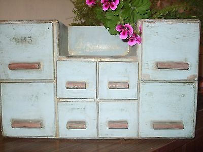 Vintage  Shabby Chic Old  Wood Spice Cabinet Wall Chest or medical cabinet
