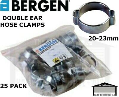BERGEN Tools 20-23mm Double Ear Hose Clamps 25pk NEW 2810