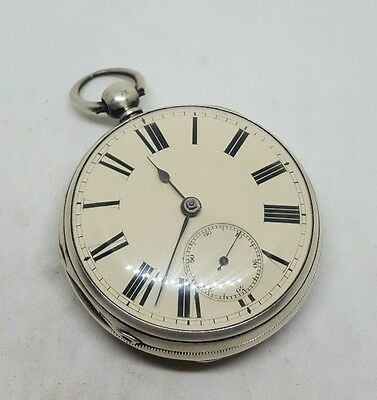 Chunky Antique solid silver gents fusee London pocket watch 1867