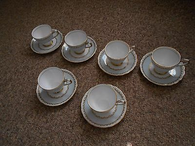 Royal Tuscan: set of 6 bone china tea cups and saucers -  pale blue, gold,white