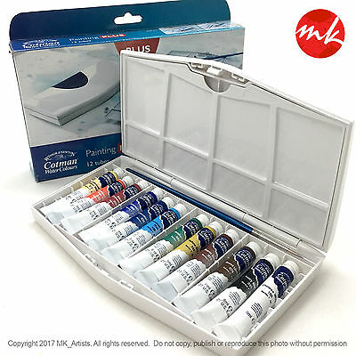Winsor and Newton Cotman Water Color Painting Set. 12 Tube 8ml + Pocket Brush