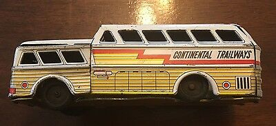 Vintage Japan Litho Continental Trailways Toy Friction Bus