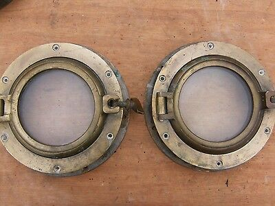 Pair Of Simpson And Lawrence Vintage Brass Portholes.