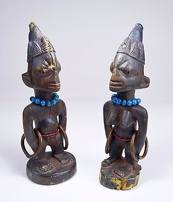 Rare pair of Old Yoruba Ibeji Twin Idols, African Tribal Art