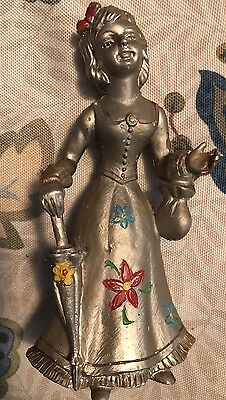 Vintage Antique Heavy Cast White Metal Girl With Umbrella