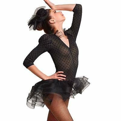 NEW Dance Costume Medium Adult Black Long Sleeve Dress Jazz Tap Solo Competition